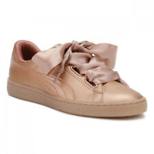 PUMA Womens Copper Pink Basket Heart Patent Trainers