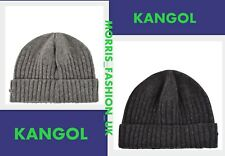 Mens Genuine Kangol WOOL Warm Turned Up Hem Chunky  Knit Beanie Hat Gray/Balck