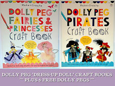 PEG CRAFT DOLL BOOKS - PIRATE or FAIRIES PRINCESSES + 6 FREE NATURAL DOLLY PEGS