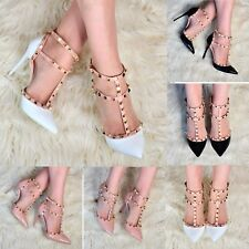 Ladies Pointed Toe Studded Stiletto Heels Tbar Strap High Heel Court Shoes Size