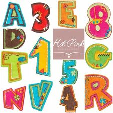 Alpahabet Letters Numbers Iron On Sew On Embroidered Fabric Motif Name Age Patch