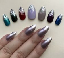 Hand Painted False Nails Stiletto (Or ALL SHAPES) Glitter Ombre Sparkle PARTY