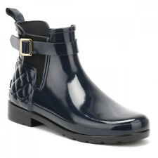 Hunter Original Womens Refined Gloss Quilted Navy Chelsea Boots