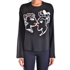 28227 MSGM T-SHIRT MANICA LUNGA DONNA NERO WOMEN'S BLACK LONG SLEEVES T-SHIRT