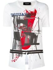bn64 DSQUARED T-SHIRT BIANCO DONNA WOMEN'S WHITE T-SHIRT