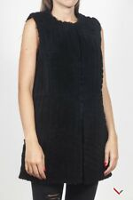vr437 KENZO GILET IN PELLICCIA NERO DONNA WOMEN'S BLACK FUR VEST