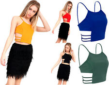 Womens Cut Out Side Crop Top Ladies Cami Strappy Sleeveless Tank Tees Party