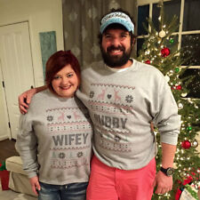 Christmas Couples Winter Sweaters Hoodie Hubby Wifey Matching Loose Soft Clothes