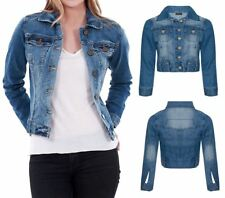Womens Blue Denim Mid Wash Long Sleeve Light Button Mid Length Jean Jacket