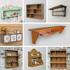 Brown Coat Hook Shelving Unit Wooden Shelf Wall Hanging Coat Hat Scarf Hanger