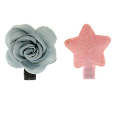 2Pcs Enchant Girl Infant Hair Clips Bows Hair Accessories with Flower Star