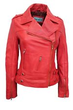 New Luxury Ladies Leather Jacket Red Soft Real Nappa Leather Biker Style Design