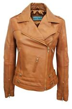 New Luxury Ladies Leather Jacket Tan Soft Real Nappa Leather Biker Style Design