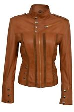 New Luxury Ladies Leather Jacket Tan Soft Real Nappa Leather Casual Style Design