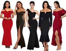 Off The Shoulder Bardot Mermaid Long Evening Gown Party Dress Plus Size 14-18