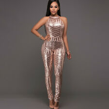 6524d2af57fa New Ladies Golden Sequin Sleeveless Jumpsuit Catsuit Club Wear UK Size 8 to  14