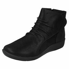 Mujer NUBE Steppers Clarks Negro Cremallera Cierre Adhesivo Botines Casuales