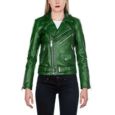 New Women Green Leather Jacket, Fashion Biker Designer Leather Jacket For Women'