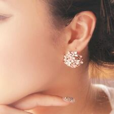4 Colors 1 Pair Fashion Women Lady Elegant Flower Crystal Stud Earring Stainless