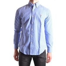 z359 RALPH LAUREN CAMICIA BLU COTONE UOMO MEN'S COTTON BLUE SHIRT