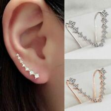 LNRRABC Women Elegant Chic New Silvery Golden Rhinestones Crystal Piercing Ear H