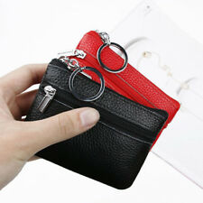 Soft Men Women Card Coin Key Holder Zip Purse Genuine Leather Wallet Pouch Bag