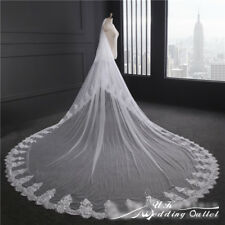 Bridal Wedding soft lace Veil Cathedral long 2 Tier With Comb 3.5M ivory/white