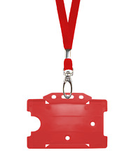 Red ID Neck Strap Cord Clip Lanyard & Plastic Card Badge Tag Work Pass Holder