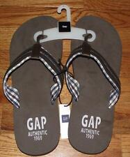 NEW NWT GAP Men's Flip Flops Thong-Style Madras Plaid CHOOSE Blue or Brown