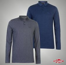 Mens Designer Lee Cooper All Over Stripe Long Sleeves Polo Shirt Top Size S-XXXL