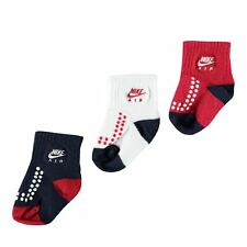 Nike Babies Socks 3 Pairs Booties Baby Boys Age 6 to 24 Months Red Navy White