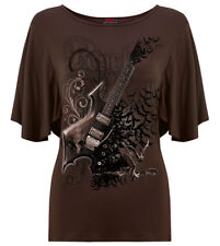 Spiral Night Riffs, Boat Neck Bat Sleeve Top Chocolate|Bats|Fashion|Gothic