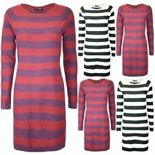 Ladies Knitted Contrast Stripes Round Neck Womens Long Sleeve 2 Tone Mini Dress