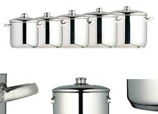 Master Class Induction Safe Stainless Steel Stock Pot Set W/ Lid – 5 Size to Fit