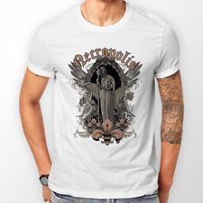 Necropolis white graphic design pattern T-shirt mens death goth metal biker