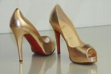 New CHRISTIAN LOUBOUTIN VERY PRIVE ROSE GOLD NUDE Peep Toe Pumps SHOES 36.5 37.5