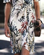 ZARA SS17 Floral Leaf Printed Crossover Wrap Style Dress With Knot White M BNWT