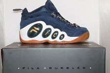 Mens Fila BUBBLES Royal Beginnings Retro Basketball Shoes Navy Suede Gold G