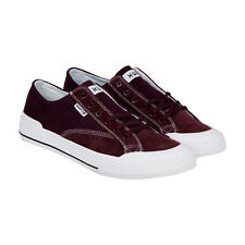 HUF Classic Lo Ess Mens Burgundy Canvas Lace Up Sneakers Shoes