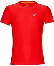 Men's New ASICS  Running T-Shirt Top, Fitness Gym Training - Red