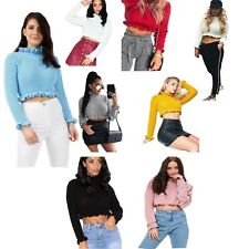 WOMENS FRILL RUFFLE KNITTED LONG SLEEVE LADIES CROP JUMPER TOP SIZE 8-14