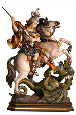 Saint George on horse statue wood carved handmade in Italy