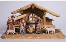 Nativity set 7 pcs. with hut, statue wood carving for Nativity set mod. 912