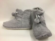 Brand New Ladies Grey Faux Fur Easy On Comfy Slippers - Select Your Size