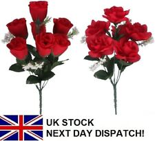 25cm Artificial Rose Silk Flowers 7 Flower GYP Head Floral Fake Valentines RED