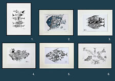 Fish Art / 6 Different Coastal Art Limited Edition Prints by Xenia Hahonina / A4