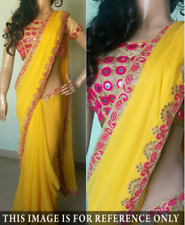 DESIGNER YELLOW GEORGETTE SAREE WITH EMBROIDERY WORK GORGEOUS LOOK SAREE