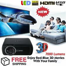 7000 Lumen 1080P HD Multimedia Portable Projector 3D LED Home Theater Cinema S