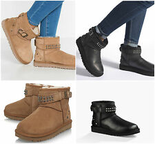 New UGG BNIB £185 Suede Leather Neva Studs Deco Women's Ankle Shoes Boots SALE