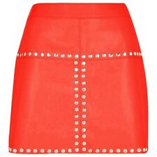 Sexy femmes Véritable souple mouton cuir nappa Rouge mini jupe (sk1-red)
